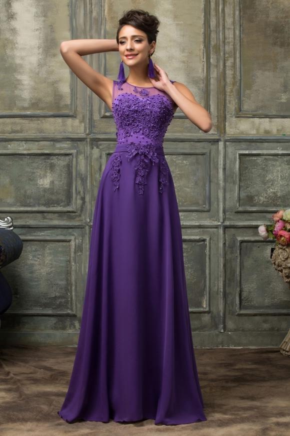 Długa wieczorowa suknia fioletowa
