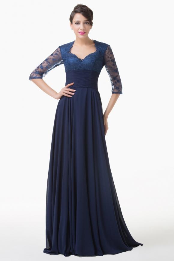 Długa koronkowa sukienka kolor granatowy