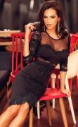 Czarna elegancka sukienka , gipiurowa aplikacja