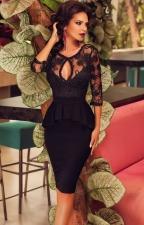 Czarna baskinka z koronką, midi sukienka