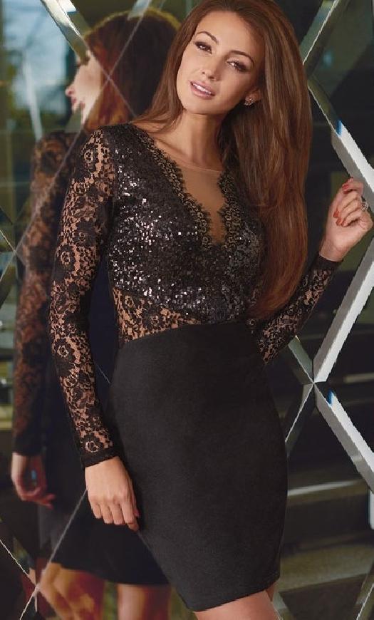 Czarna sukienka z cekinami i koronką