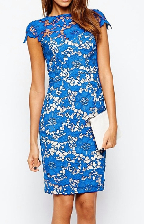Niebieska koronkowa sukienka na wesele, komunie, na co dzień