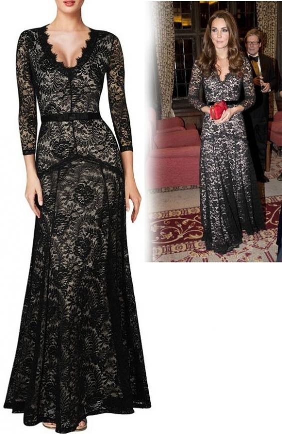 Sukienka w stylu Kate Middleton, czarna koronkowa suknia