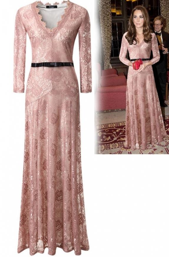 Koronkowa sukienka w stylu KateMiddleton,  wersja 3/4, pudrowy róż