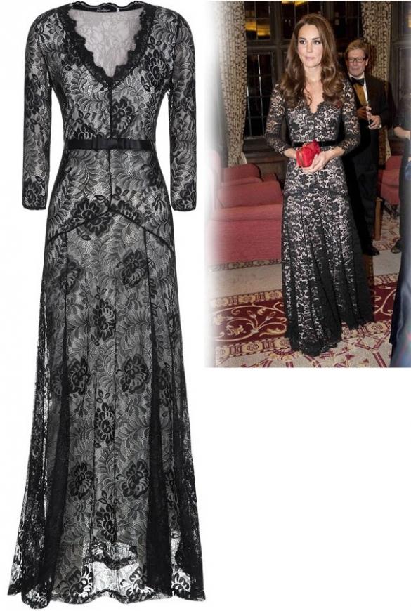 Koronkowa sukienka w stylu KateMiddleton,  wersja 3/4, czarna