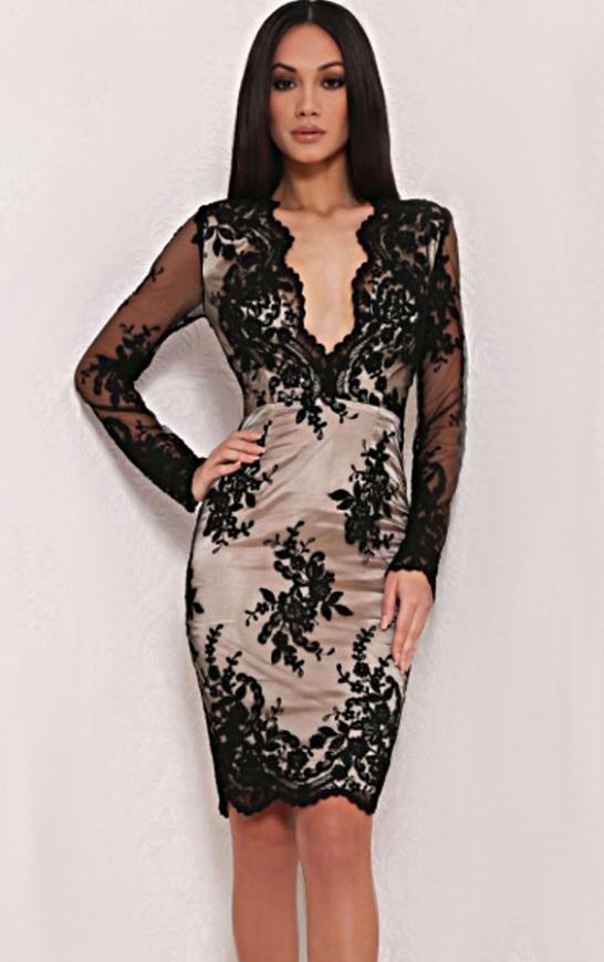 Koronkowa beżowo czarna sukienka