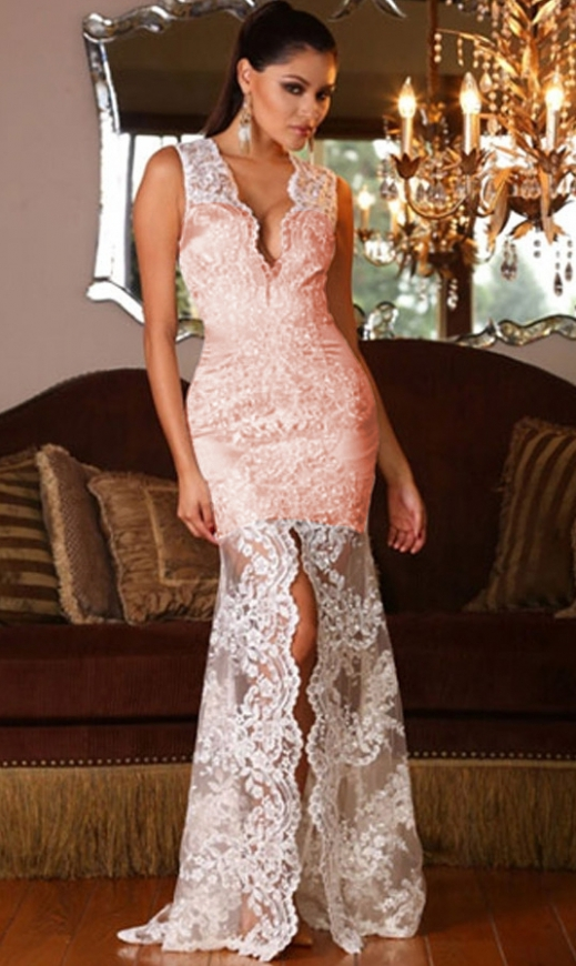 Długa suknia, brudny róż + biała koronka