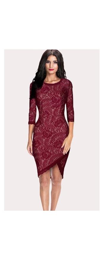 Koronkowa sukienka ciemne wino