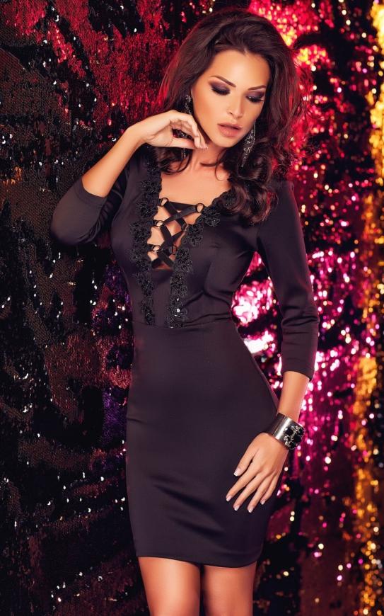 Czarna mini sukienka z wiązaniem