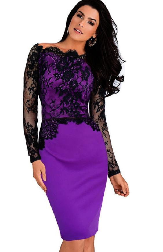 Fioletowa koronkowa sukienka, sukienki wizytowe