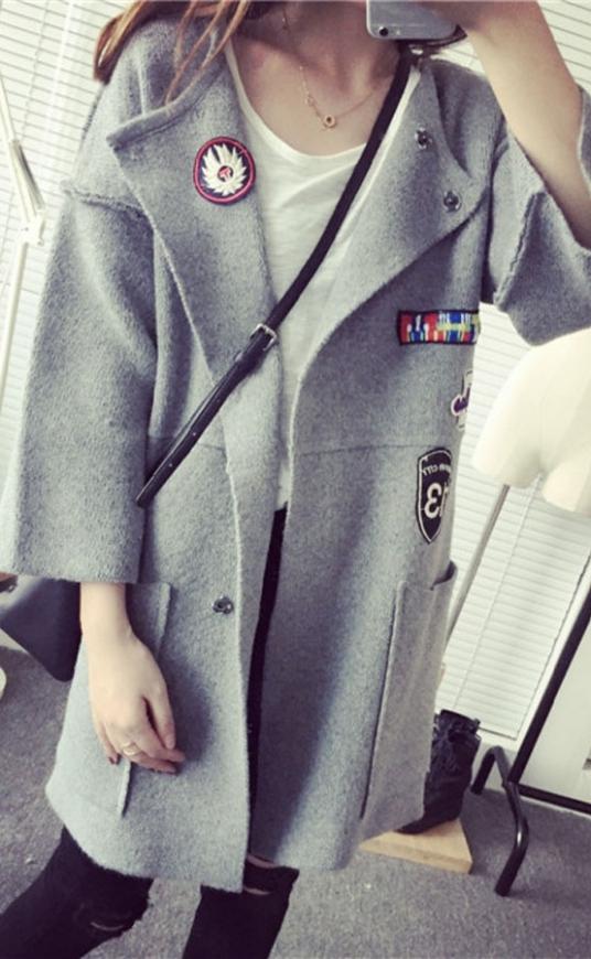 Sweter ala płasczyk w stylu militarnym, szary