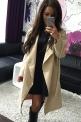 Flauszowy beżowy płaszcz damski   płaszcze jesienno wiosenne