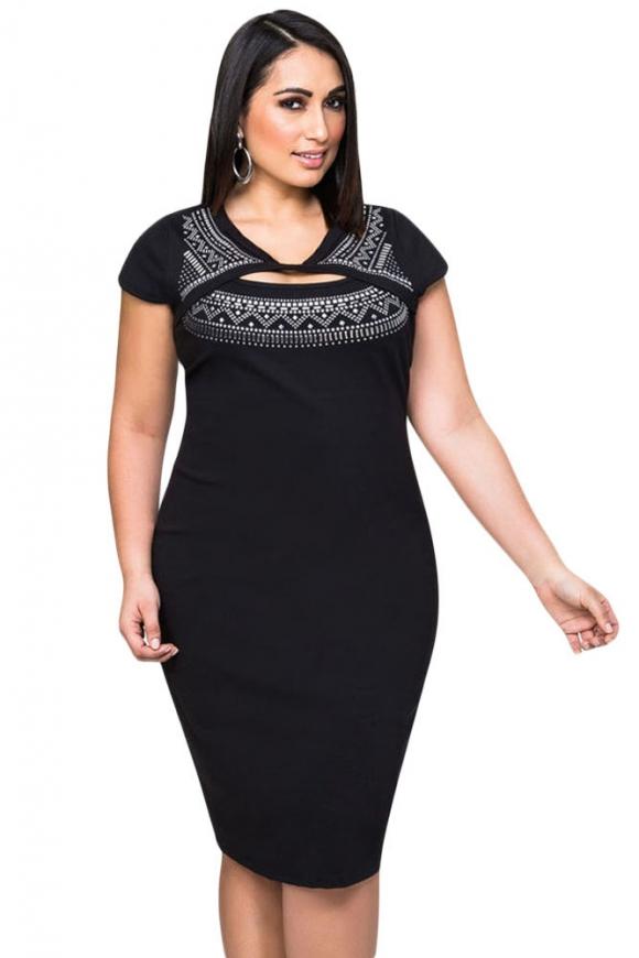 Sukienka z imitacja bolerka ,  Plus Size | nadrukowane srebrne zdobienia