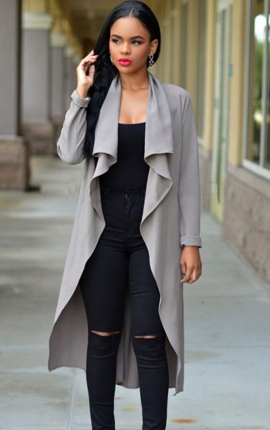 Szary trencz  damski | płaszcze jesienno wiosenne