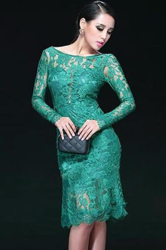 Szmaragdowa koronowa sukienka