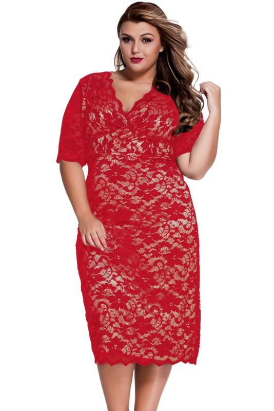 Koronkowa czerwona sukienka w dużych rozmiarach. Koronkowe sukienki Plus size. Lace big size red dresses
