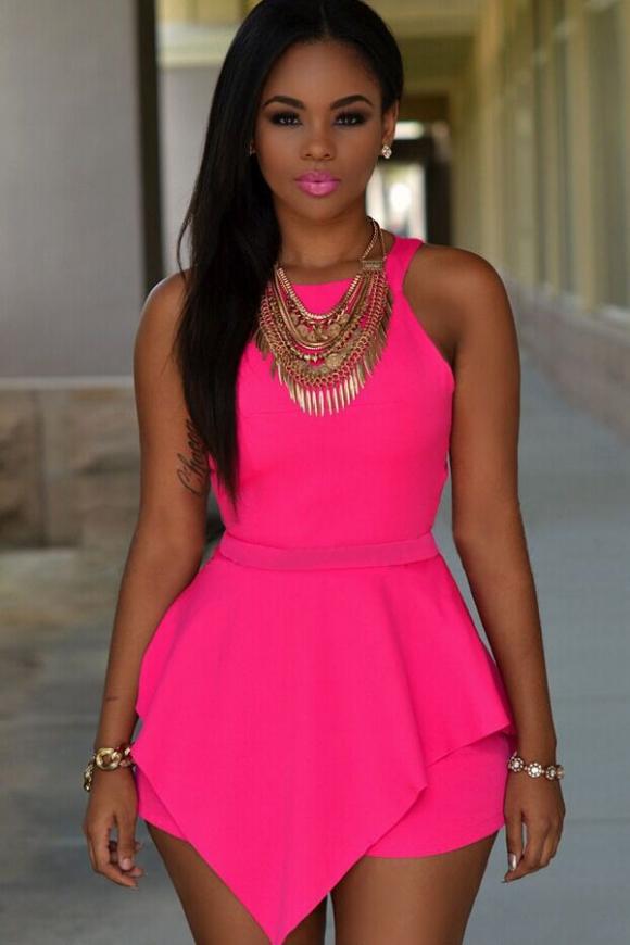 Neonowo różowy kombinezon damski | kombinezony