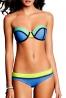 Bikini damskie, neonowa zieleń + turkus + niebieski