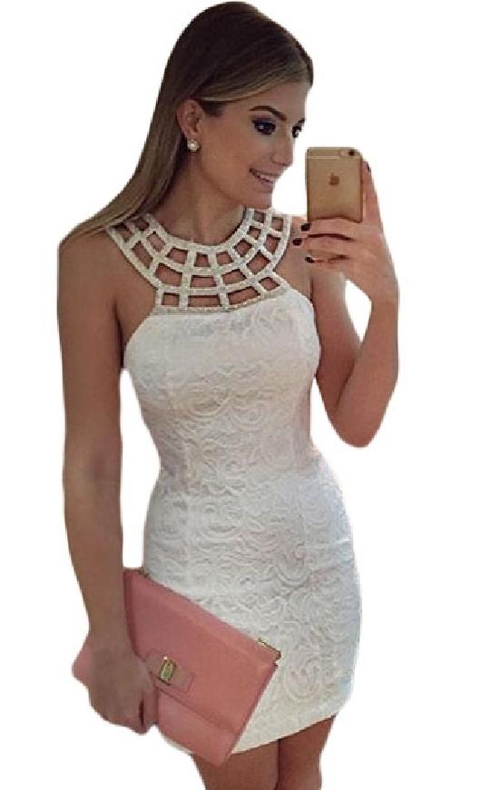 Koronkowa biała sukienka z koralikowym dekoltem