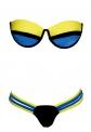 Bikini damskie z paskami, neonowo  żółty +  niebieski