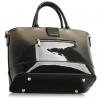 Lakierowana szaro czarna torebka \ lakierowane torebki