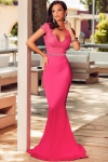 Długa różowa sukienka z koronką | długie sukienki wieczorowe