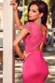Długa rózowa sukienka z koronką | długie sukienki wieczorowe