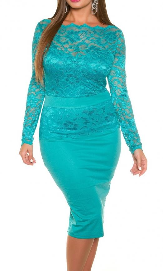 Szmaragdowa sukienka koronkowa