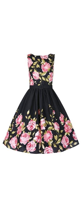 Czarna sukienka w różowe róże | sukienki