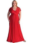 Długa czerwona suknia dla puszystej | długa sukni plus size
