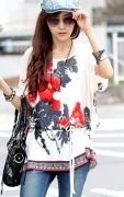 Tunika z czerwonymi i czarnymi kwiatami | białe tuniki