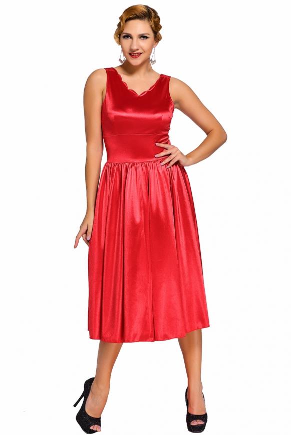 Połyskliwa sukienka z falistym dekoltem.  MIdi sukienka wizytowa, czarna lub czerwona