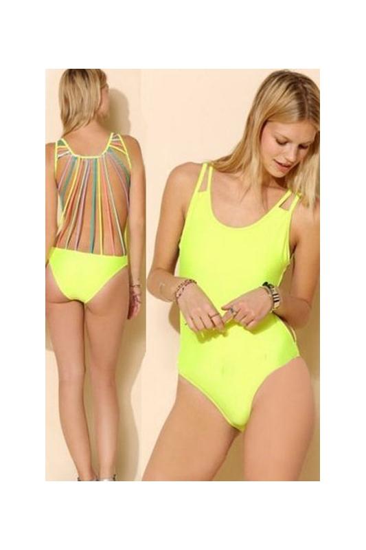 Jednoczęściowy limonkowy strój kąpielowy , monokini