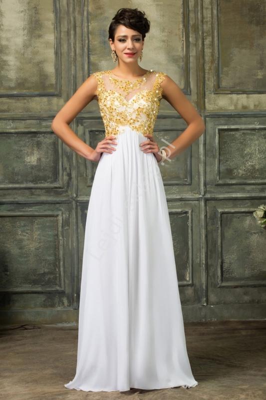 Suknia ślubna ze złotymi haftami