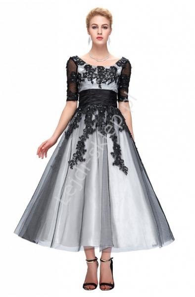 Biało czarna tiulowa sukienka midi  | Sukienka wieczorowa