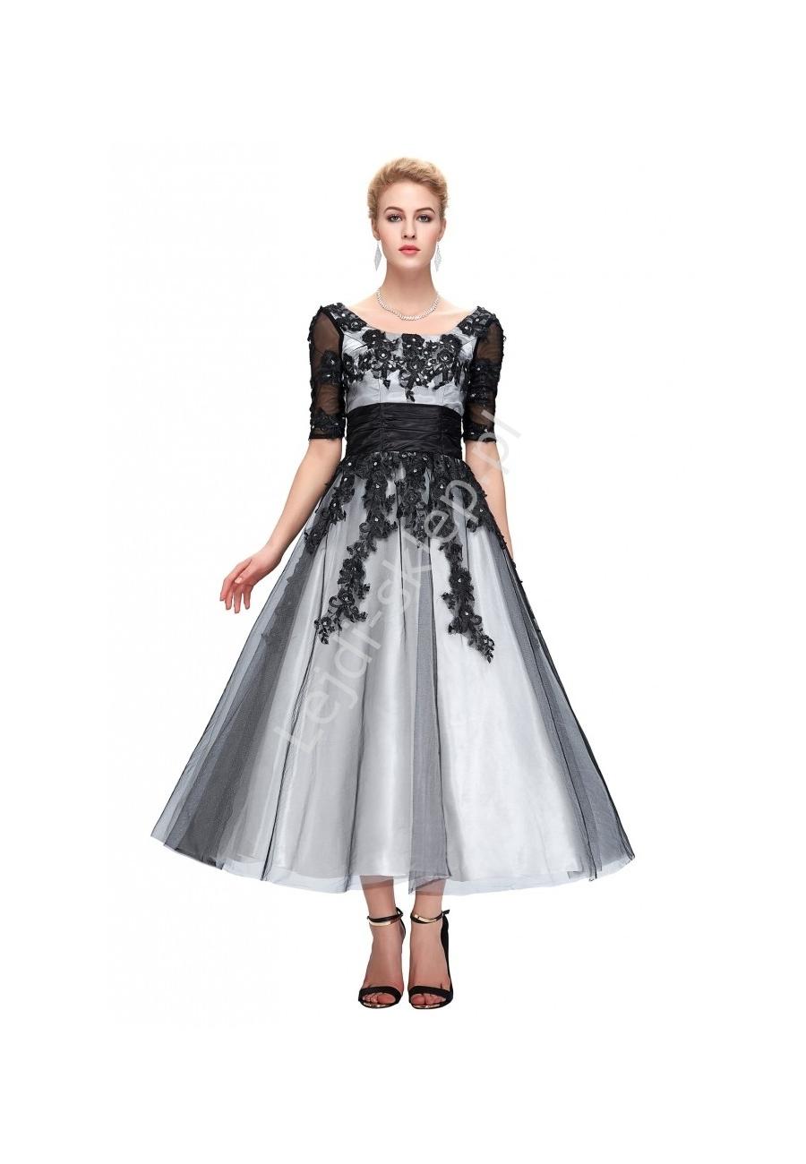 Biało Czarna Tiulowa Sukienka Midi Sukienka Wieczorowa