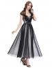 Tiulowa sukienka midi z koronką i perełkami | Sukienka wieczorowa