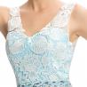 Długa turkusowa suknia z gipiurową koronką | długie suknie na studniówkę, na wesela