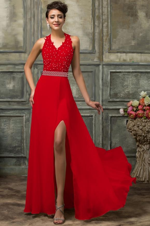 Olśniewająca suknia z koronkowym gorsetem w kolorze czerwonym| długa suknia na wesele, suknia na studniówkę