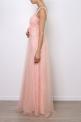 Granatowa długa suknia z koronką i cekinami | sukienka na studniówkę na wesele