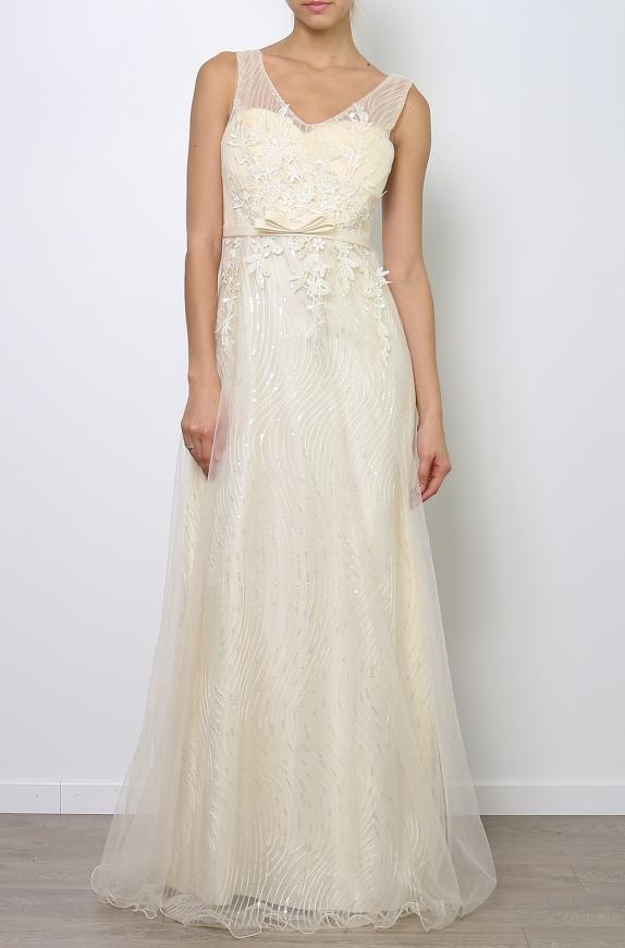 Długa suknia z koronką i cekinami w kolorze ecru | sukienka na studniówkę na wesele