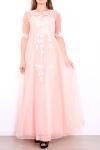 Jasno różowa długa suknia z gipiurową koronką z rękawkami | suknia wieczorowa