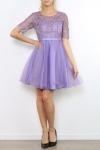 Wrzosowa sukienka z gipiurową koronką z rękawkami | suknia wieczorowa