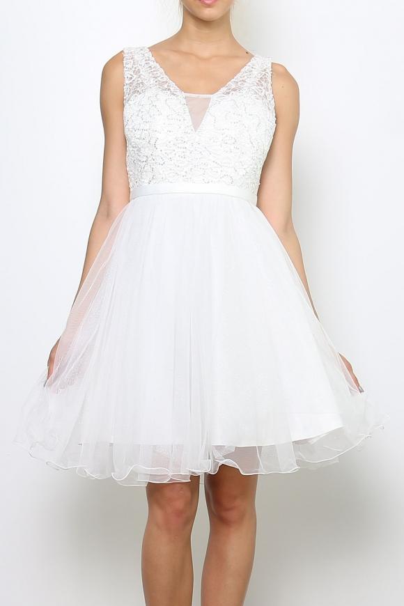 Biała sukienka z koronką i cekinami | sukienka na studniówkę na wesele