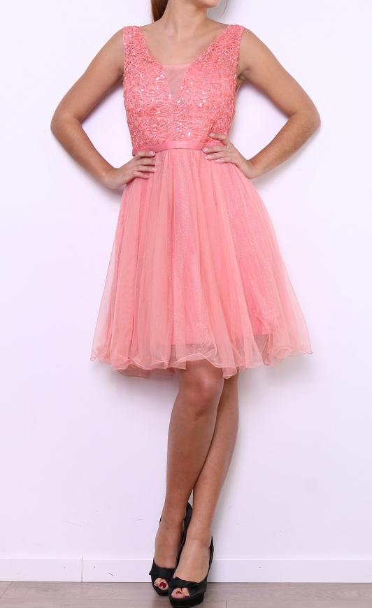 Koralowa sukienka z koronka i cekinami | sukienka na studniówkę na wesele