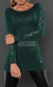 Dzianinowa tunika  w kolorze butelkowej zieleni, ozdobiona jetami i paskami koronki.