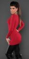 Dzianinowa tunika  w kolorze czerwonym, ozdobiona jetami i paskami koronki.
