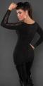 Dzianinowa tunika  w kolorze czarnym ozdobiona jetami i paskami koronki.