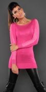 Dzianinowa tunika  w kolorze różowym ozdobiona jetami i paskami koronki.
