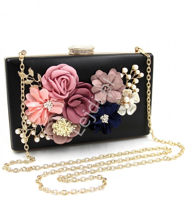 Czarna wieczorowa torebka z kwiatami 3D ozdobionymi perełkami